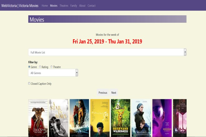 new webvictoria movie theatres, showtimes and listings
